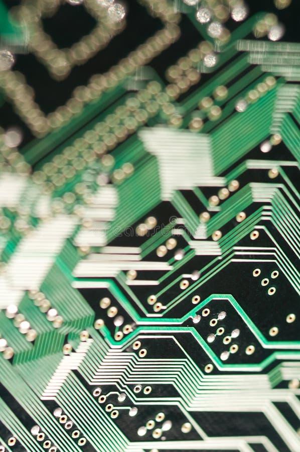 Makro von Brett-PWB der elektronischen Schaltung im Grün lizenzfreie stockfotos