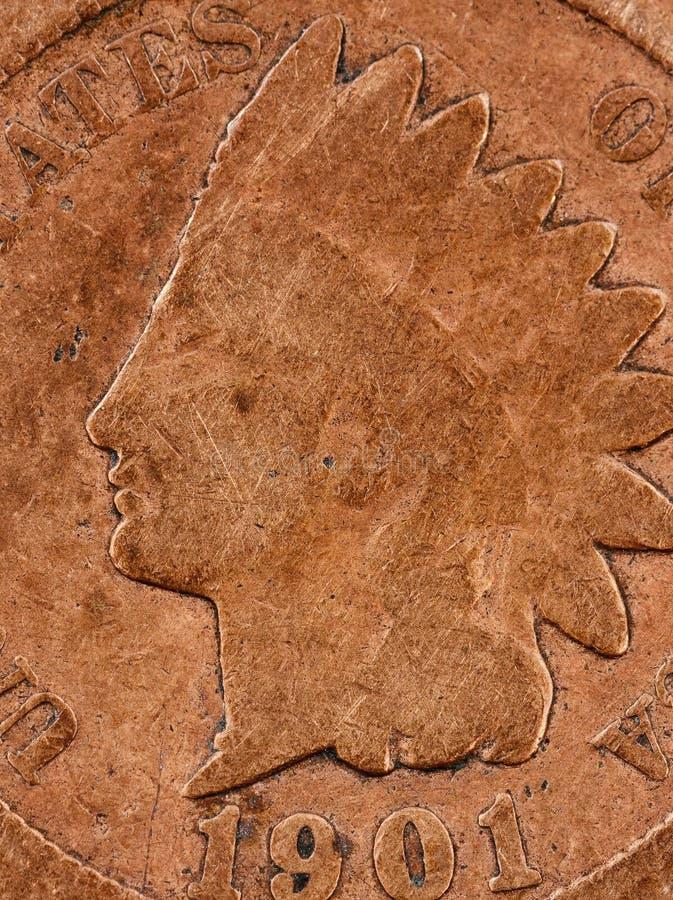 Makro- widok stonowana miedziana metal moneta pokazuje swój wieka fotografia stock