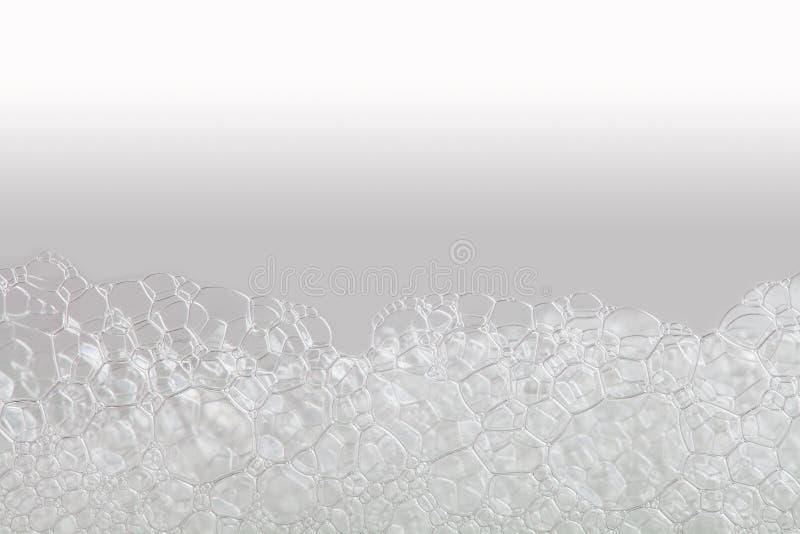Makro- widoku bąbli mydlasta piana suds i prysznic tekstura beżowy biały gradientowy tło Horyzontalna, miękka ostrość, fotografia royalty free