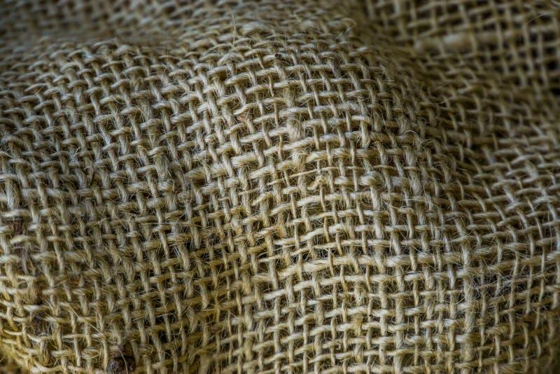 Makro- zbliżenie jutowa jutowa tkanina, parciana tekstura, stare rocznik tkaniny, burlap tło zdjęcie stock