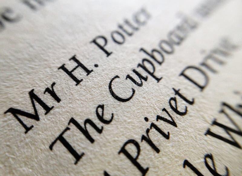 Makro- zbliżenie tekst w Harry Poter książce obrazy royalty free