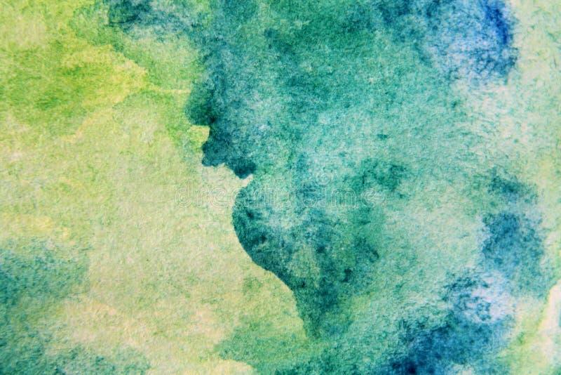 Makro- zieleń z Błękitnymi Watercolour teksturami 12 ilustracja wektor