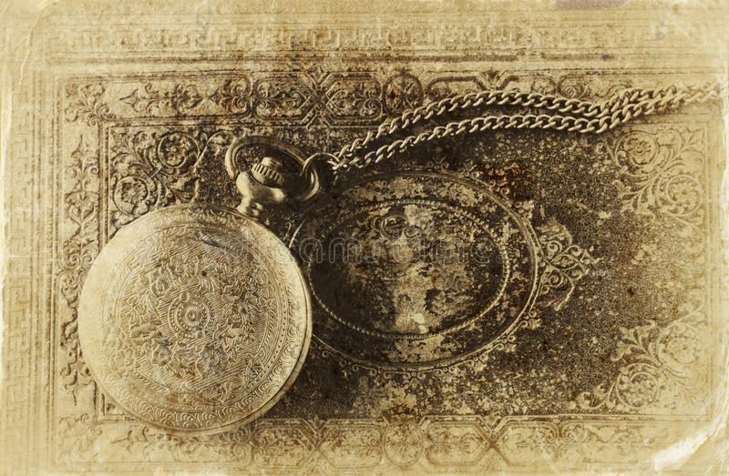 Makrobild av den gamla tappningrovan på den antika boken Top beskådar retro filtrerad bild, foto för gammal stil royaltyfria foton
