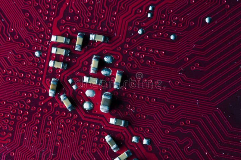 Makrobild der roten Leiterplatte - PWB lizenzfreies stockfoto