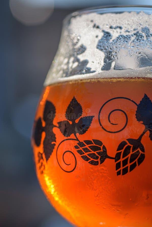 Makrocloseup av kallt exponeringsglas av öl arkivfoto