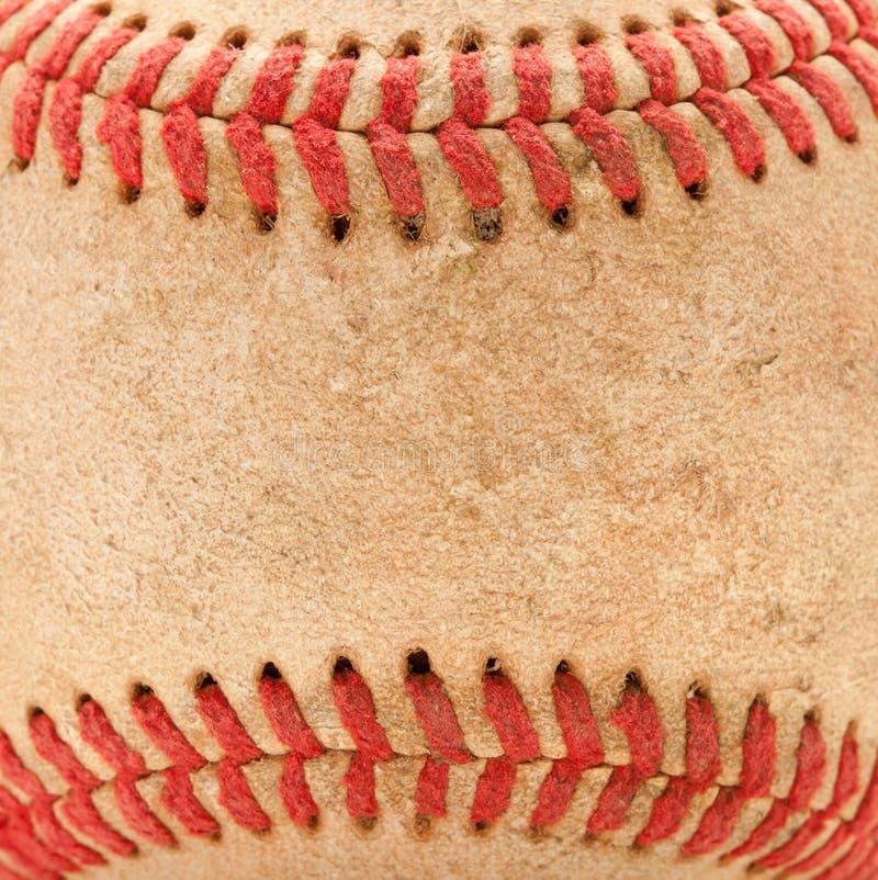 Makrodetail des abgenutzten Baseballs stockfotos