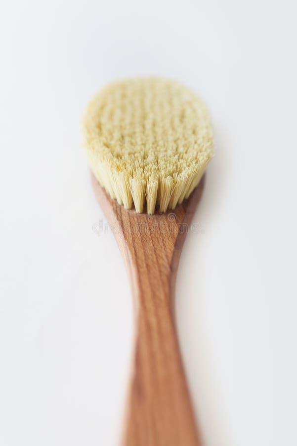 Makrofoto av den organiska borsten för brunnsort för torr massage Kaktusborste Anti--cellulite massage Spa sk?nhetbegrepp royaltyfri bild