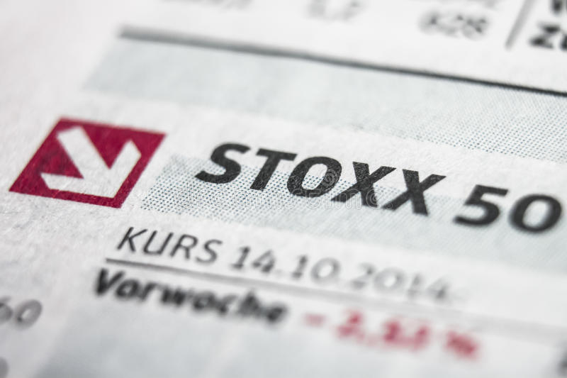 Makrokonzept Stoxx 50 lizenzfreies stockfoto