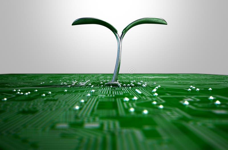 Makroleiterplatte mit futuristischer Anlage stockbild