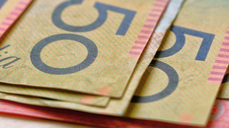 Makronahaufnahme des Australiers fünfzig Dollaranmerkungen stockfoto