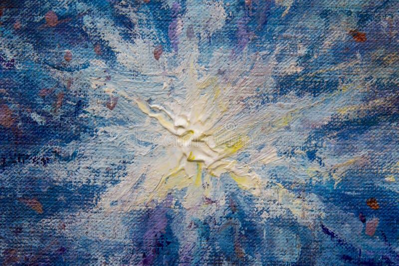 Makronahaufnahme des blauen bunten abstrakten Himmelfragments einer Malerei auf Segeltuch Beschaffenheitshintergrund für die Küns lizenzfreie stockfotografie