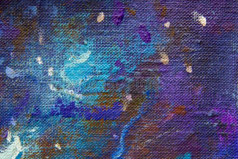 Makronahaufnahme des blauen bunten abstrakten Himmelfragments einer Malerei auf Segeltuch Beschaffenheitshintergrund für die Küns lizenzfreie abbildung