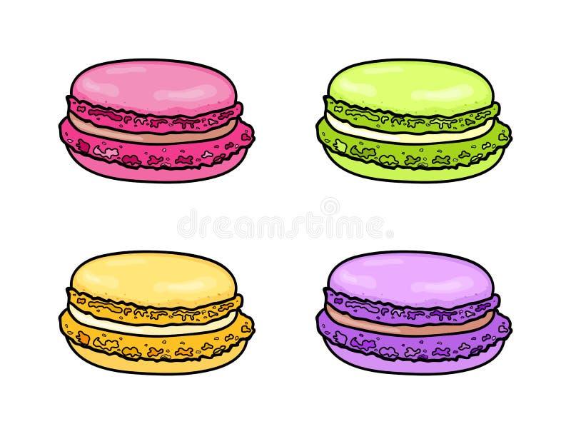 Makronuppsättning Fransk färgrik macaron Efterrätt för söt mandel också vektor för coreldrawillustration vektor illustrationer