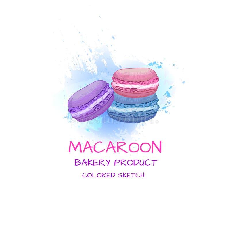 MakronVEKTORillustrationen som färgas skissar på abstrakt vattenfärgfärgstänk, efterrätten, fransk kokkonst vektor illustrationer