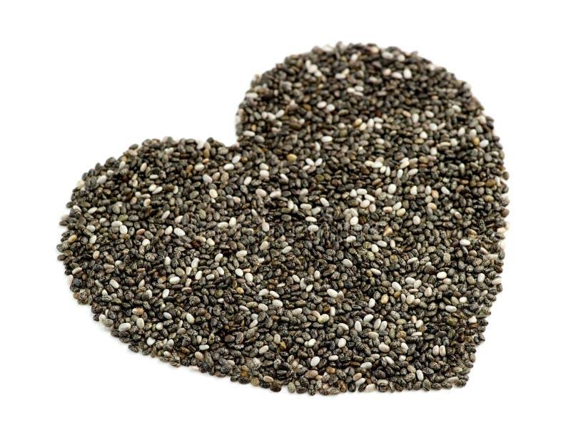 Makroperspektiv av naturligt chiafrö i hjärtaform royaltyfria bilder