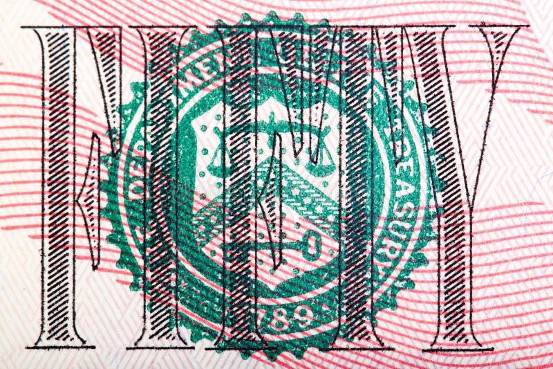 Makroschuß der Dichtung von der 50 Rechnung U S Geld stockbild