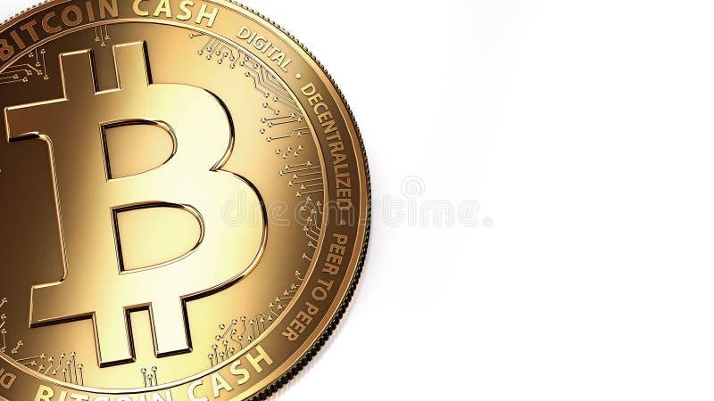 Makroschuß goldenen Bitcoin-Bargeldes BCH/BCC und des Kopienraumes stock abbildung