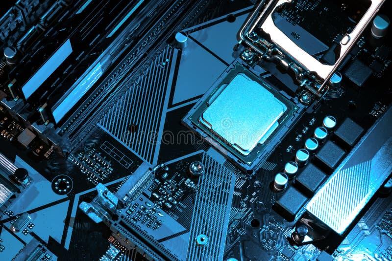 Makrosikt av CPU, hålighet, minne på moderkortet royaltyfri foto