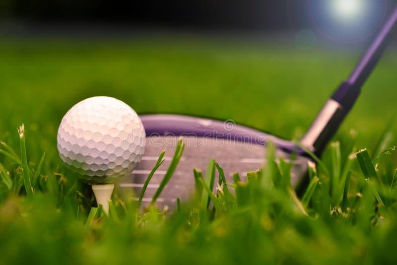 Makroskott av en golfklubb med bollen och utslagsplatsen arkivbild