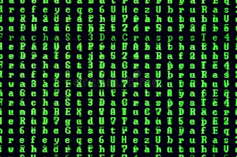 Makroskott av ett tekniskt fel på bildskärmen av en kontorsdator Begreppet av introduktion av en virus in i en personlig datavård arkivbilder