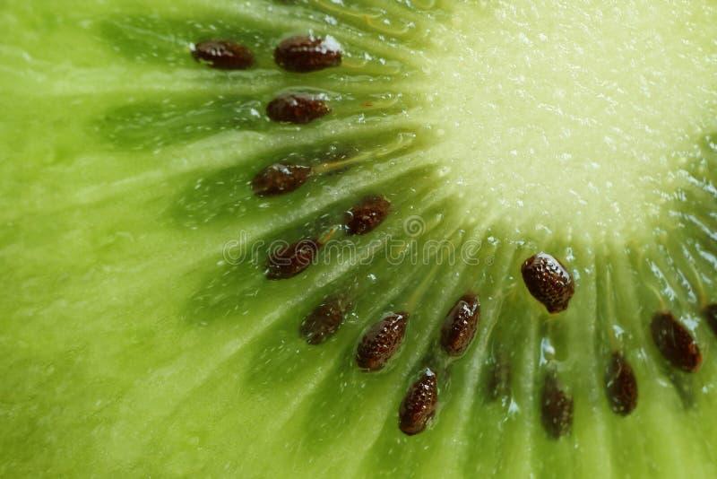 Makroskott av vibrerande grönt nytt och saftigt av klippta mogna Kiwi Fruit royaltyfri bild