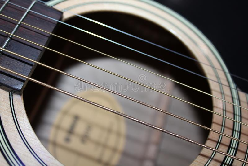Makrotrieb der Gitarre YamahaF310 Canon700D lizenzfreie stockfotos