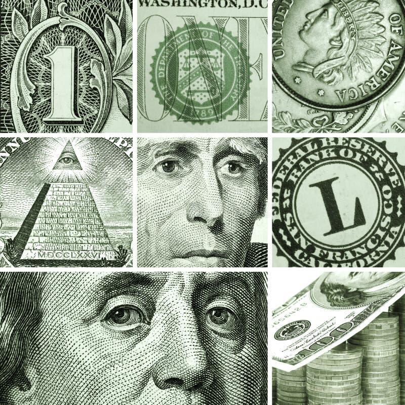 Makrouppsättning från USA dollar fotografering för bildbyråer