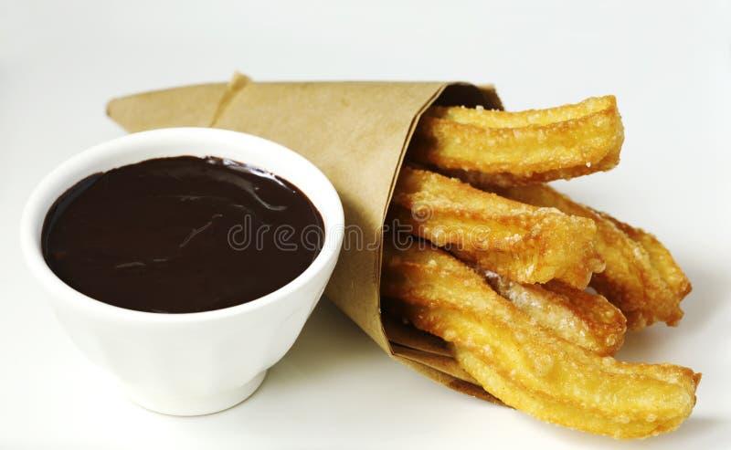 Maksykańskie churry deserowe z sosem czekoladowym obraz stock
