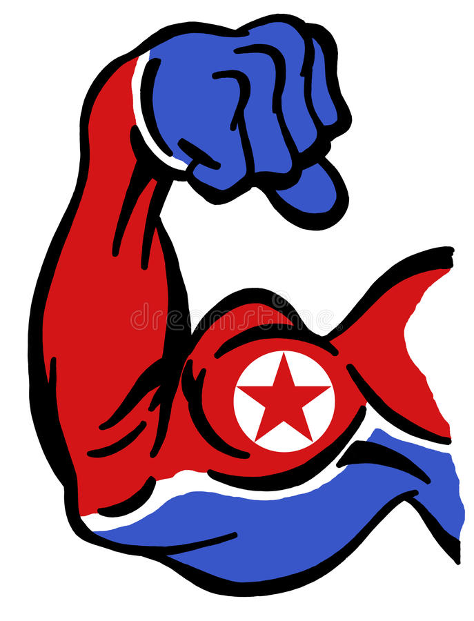 Makt av Nordkorea stock illustrationer