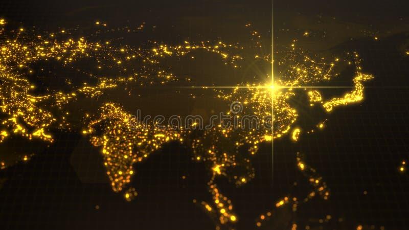 Makt av porslinet, energistråle på Peking mörk översikt med upplysta städer och mänskliga täthetområden illustration 3d stock illustrationer