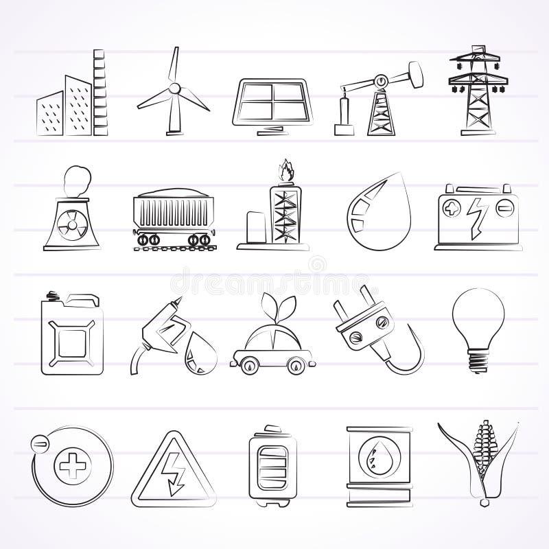 Makt-, energi- och elektricitetskällsymboler vektor illustrationer