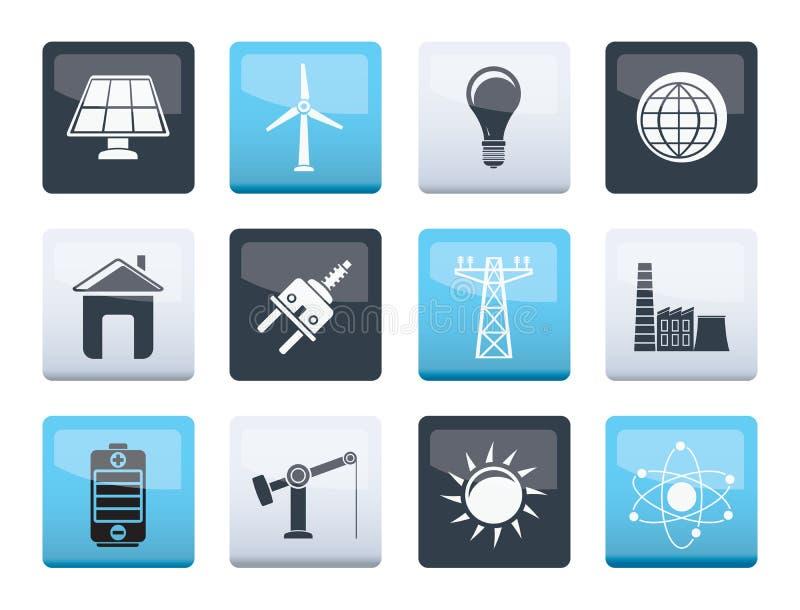 Makt-, energi- och elektricitetssymboler över färgbakgrund vektor illustrationer