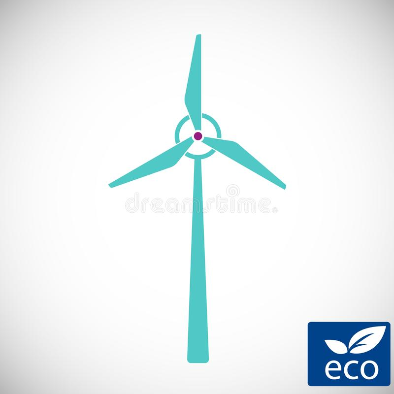 Makt för alternativ energi, symbol för väderkvarn för vindelektricitetsturbin, teknologi av den förnybara väderkvarnstationen stock illustrationer