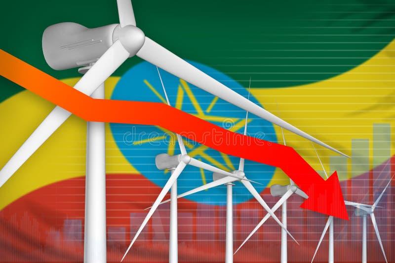 Makt för Etiopien vindenergi som fäller ned diagrammet, pil ner - förnybar industriell illustration för naturlig energi illustrat vektor illustrationer