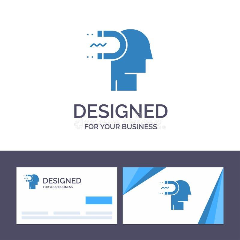 Makt för idérik mall för affärskort och logo, påverkan, koppling, människa, påverkan, ledningsvektorillustration stock illustrationer
