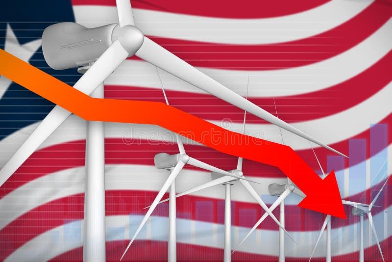 Makt för Liberia vindenergi som fäller ned diagrammet, pil ner - alternativ industriell illustration för naturlig energi illustra vektor illustrationer