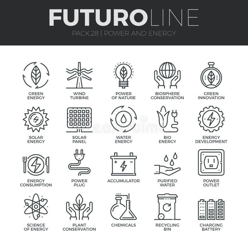 Makt- och energiFuturo linje symbolsuppsättning vektor illustrationer