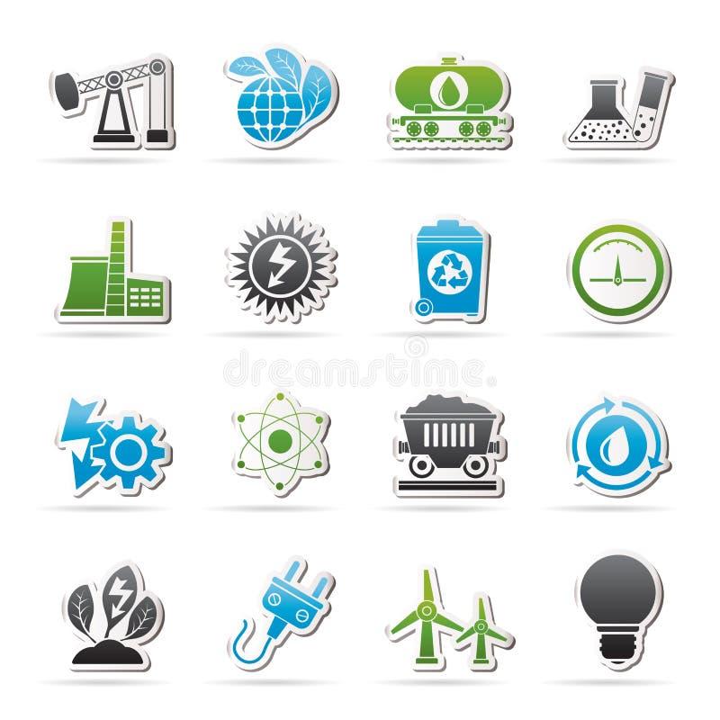 Makt- och energiproduktionsymboler royaltyfri illustrationer