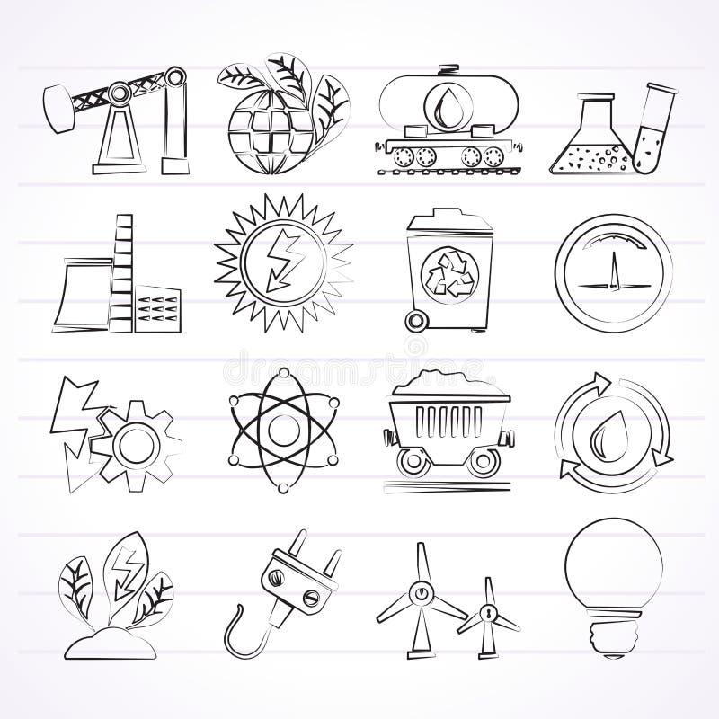 Makt- och energiproduktionsymboler stock illustrationer