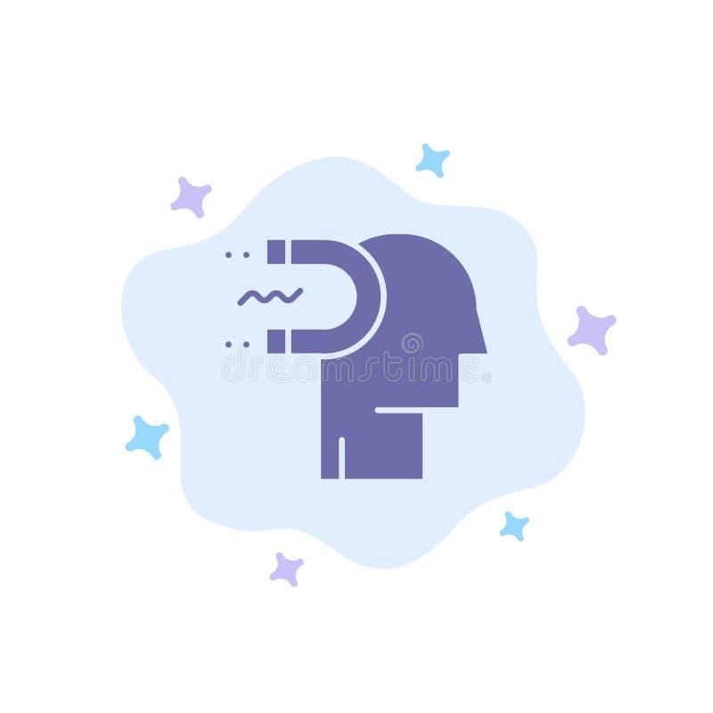 Makt påverkan, koppling, människa, påverkan, blå symbol för ledning på abstrakt molnbakgrund stock illustrationer