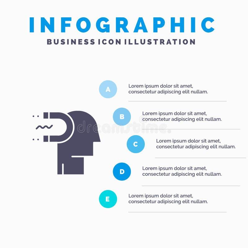 Makt påverkan, koppling, människa, påverkan, för symbolsInfographics 5 för ledning fast bakgrund för presentation moment stock illustrationer