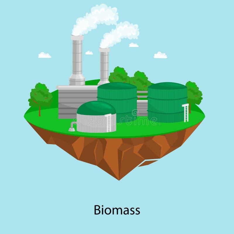 Maktbransch för alternativ energi, elektricitet för biomassakraftverkfabrik på ett ekologibegrepp för grönt gräs royaltyfri illustrationer