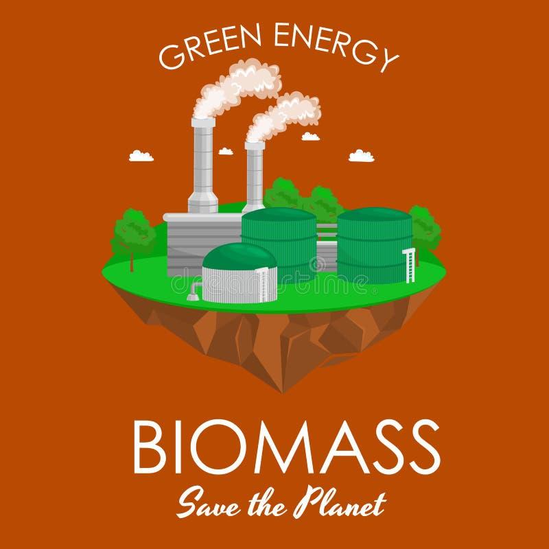 Maktbransch för alternativ energi, elektricitet för biomassakraftverkfabrik på ett ekologibegrepp för grönt gräs stock illustrationer