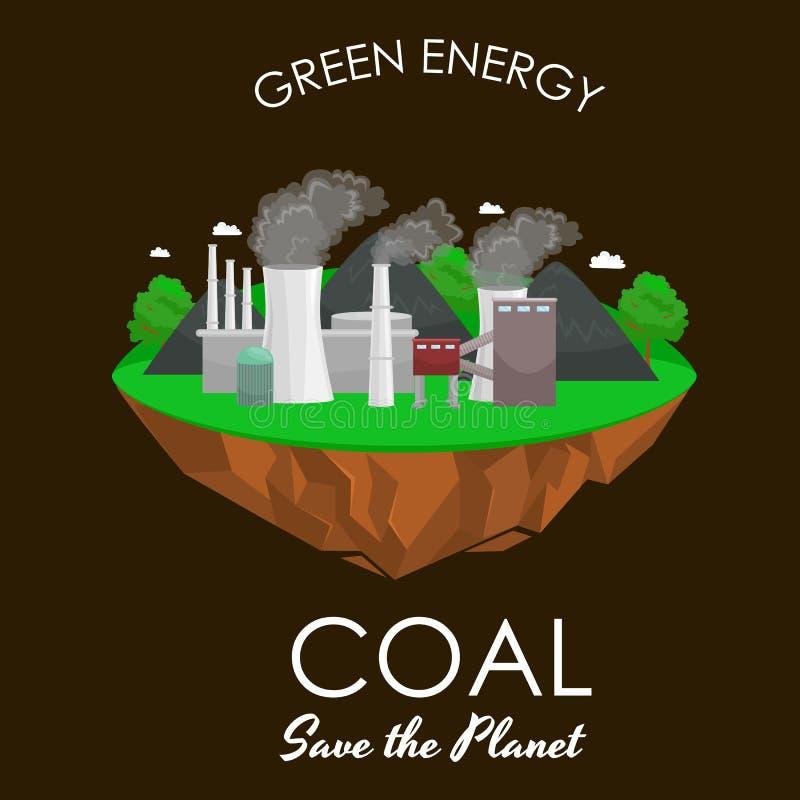 Maktbransch för alternativ energi, elektricitet för fabrik för kolkraftstation på ett ekologibegrepp för grönt gräs, teknologi stock illustrationer