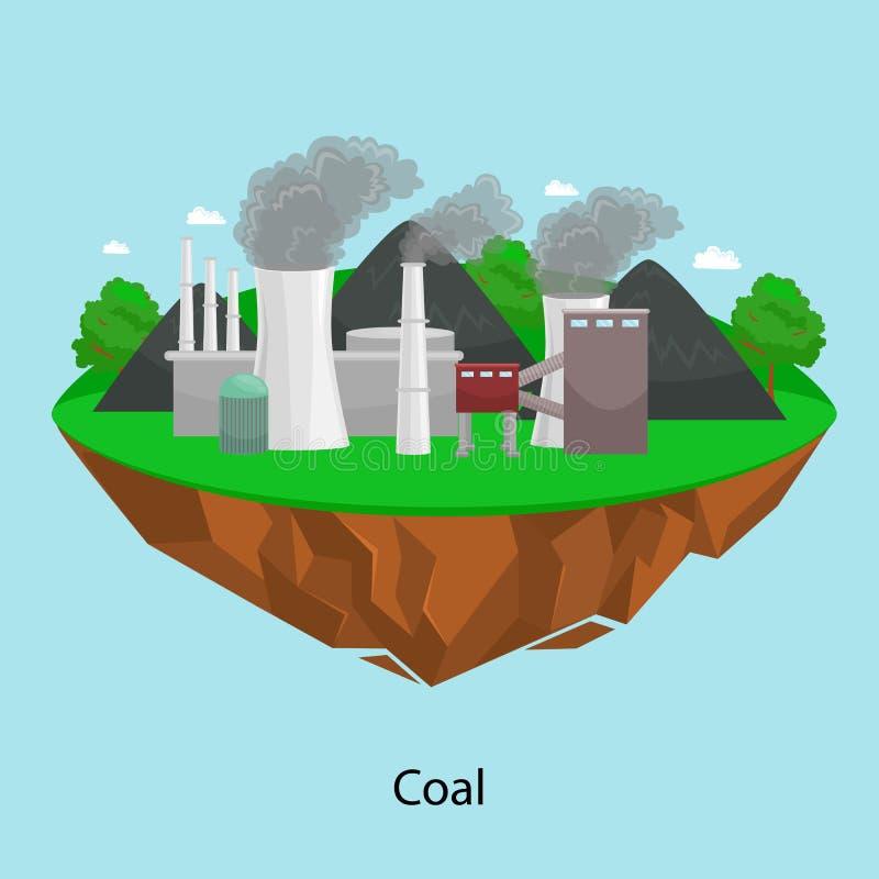 Maktbransch för alternativ energi, elektricitet för fabrik för kolkraftstation på ett ekologibegrepp för grönt gräs, teknologi vektor illustrationer