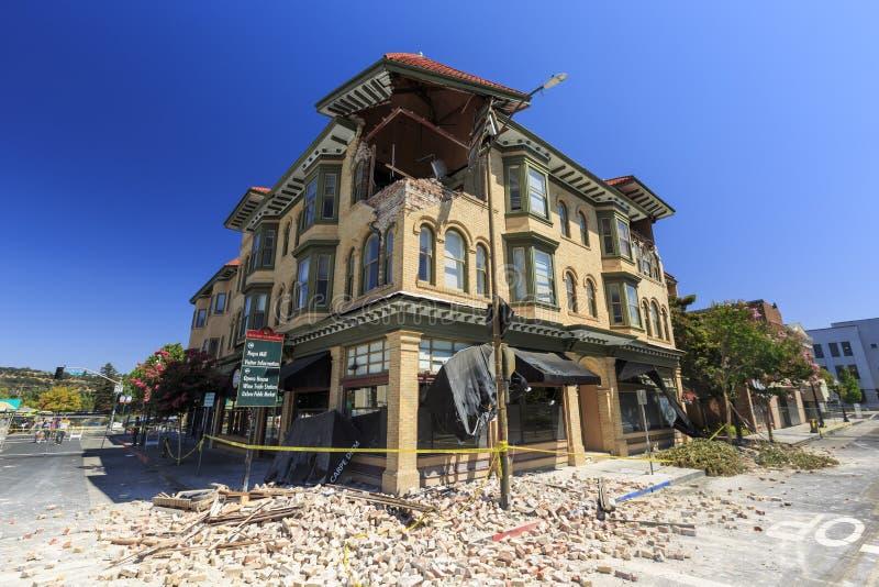 Makten av jordskalvet, Napa Valley royaltyfria bilder