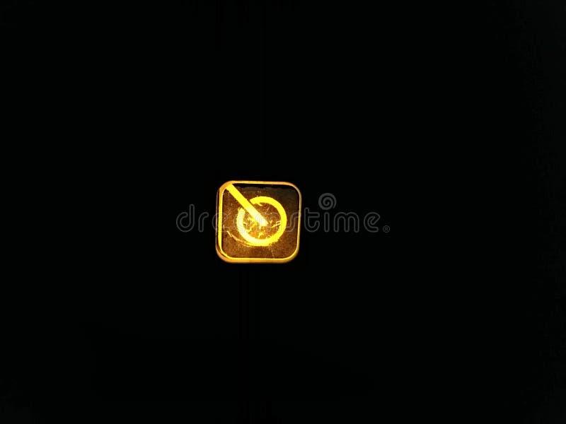 Maktknappen av en bildskärm av en PC royaltyfri bild