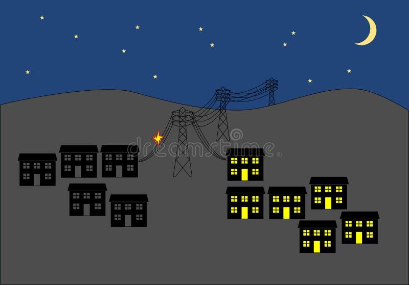 Maktsnitt i stad på nattgemkonst stock illustrationer