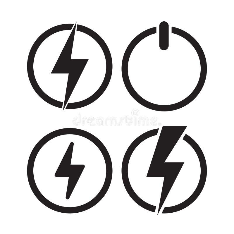 Maktsymbol, elektrisk symbol vektor royaltyfri illustrationer