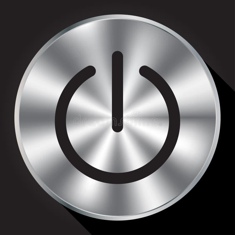Makttecken på den metalliska knappen royaltyfri illustrationer